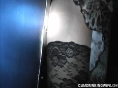 Slutwife gangbanged at the gloryhole
