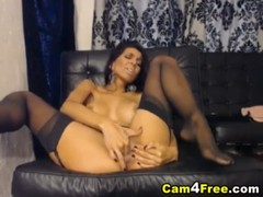 Busty Teen Strips and Penetrates her Tight Shaved Pussy