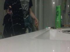 18 yo babe caught on hidden bathroom cam, stripping for shower.