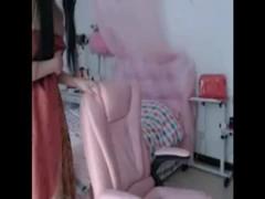 Small girl show webcam in bedroom