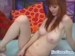 Gorgeous redhair best masturbation show with dildo