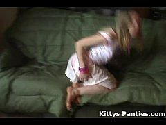 Cute girl Kitty flashing her panties in a tiny miniskirt