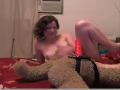 Teen fuck teddy bear on cam
