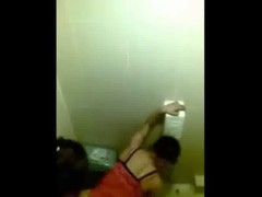 Cute asian chick caught fucking in a public restroom by a peeper